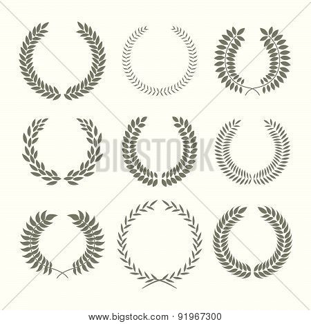 Vector Illustration With Laurel Wreaths On White Background.