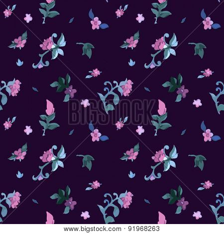 Floral Watercolor seamless pattern with exotic flowers and leaves