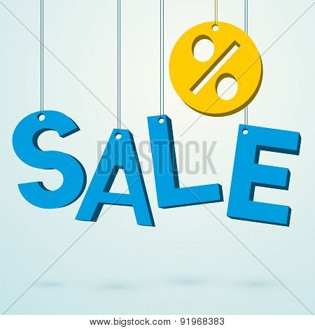 Sale Blue Sign Hanging On A Thread