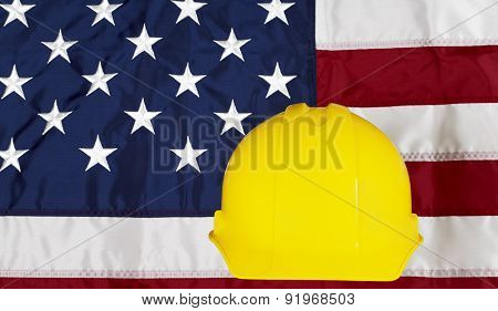 Construcion Industry Helmet On American Made Flag
