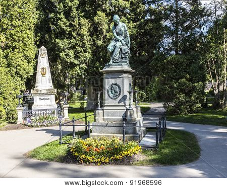 Mozart And Beethoven Memorial In Zentralfriedhof, Vienna, Austria.