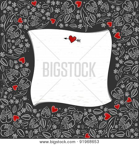 secret garden square frame with red hearts floral seasonal messy card with blank paper on dark