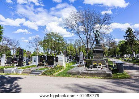 Old Graves And Memorials At The  Zentralfriedhof, Vienna, Austria.
