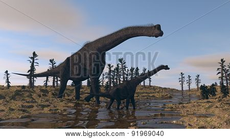 brachiosaurus in river waters