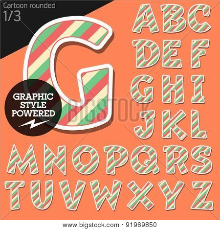 Vector children alphabet set in striped candy style. File contains graphic styles available in Illustrator. Uppercase letters