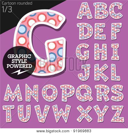 Vector children alphabet set in funny dots style. File contains graphic styles available in Illustrator. Uppercase letters