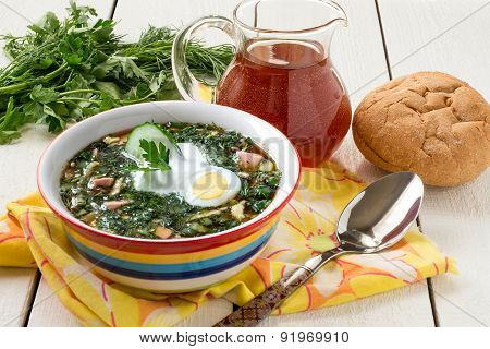 Spring Russian Cold Soup - Okroshka