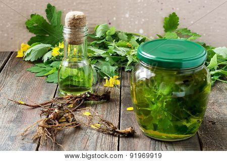 Herbal Medicine: Celandine, Tincture, Oil And Roots