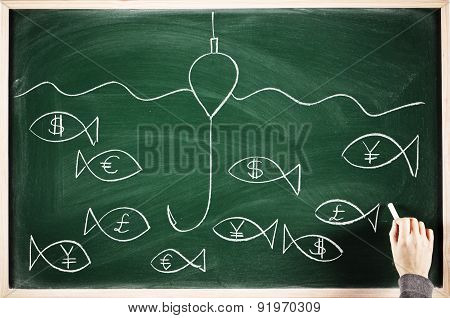 fishing money concept sketched on a blackboard