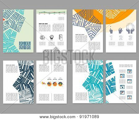 Flyer, Leaflet, Booklet Layout Set. Editable Design Template. A4 2-fold Brochure With Abstract Eleme