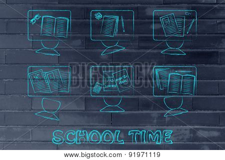 School Time, Illustration Of A Classroom With Tables, Chairs, Books