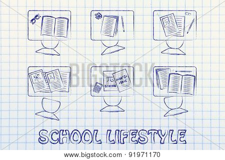 School Lifestyle, Illustration Of A Classroom With Tables, Chairs, Books