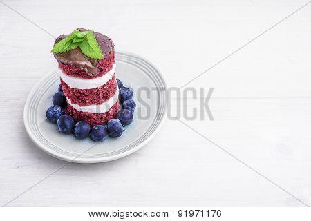 Red Velvet Cake With Blueberries. Us Flag Themed Dessert, Ideal For Independence Day.