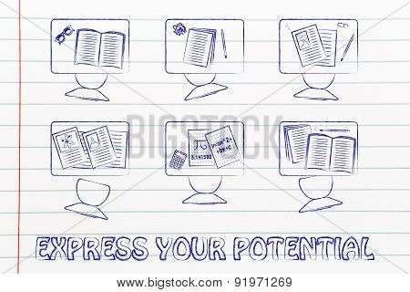 Express Your Potential At School, Illustration Of A Classroom With Tables, Chairs, Books