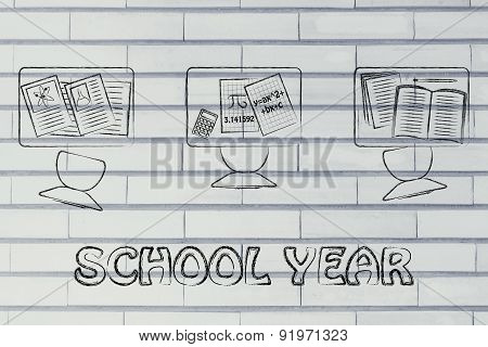 School Year, Illustration Of A Classroom With Tables, Chairs, Books