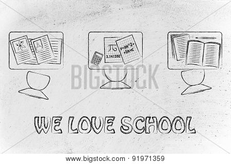 We Love School, Illustration Of A Classroom With Tables, Chairs, Books
