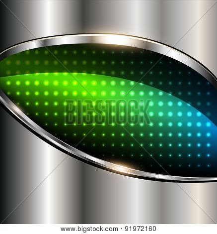 Abstract background colorful lights on silver metallic, vector illustration.