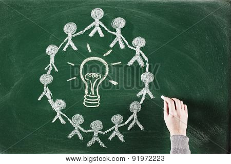 people united surrounding a light bulb Innovation and teamwork concept