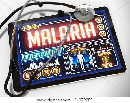 Malaria on the Display of Medical Tablet.