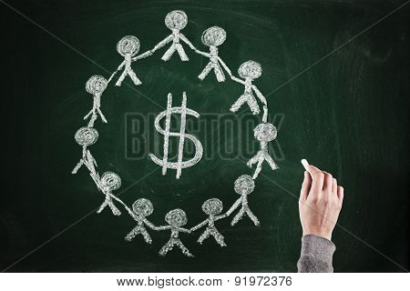 sketching succesful business teamwork concept on chalkboard