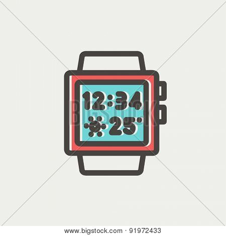 Trendy smartwatch icon thin line for web and mobile, modern minimalistic flat design. Vector icon with dark grey outline and offset colour on light grey background.