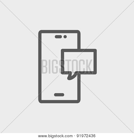 Empty speech bubble in smartphone icon thin line for web and mobile, modern minimalistic flat design. Vector dark grey icon on light grey background.