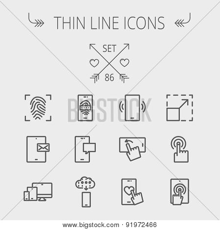 Technology thin line icon set for web and mobile. Set includes- mobiles icons, fingerprint, wireless gadgets icons. Modern minimalistic flat design. Vector dark grey icon on light grey background.