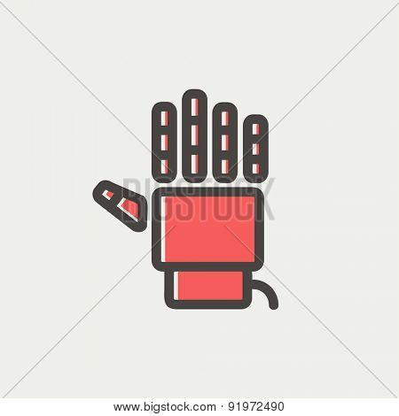 Robot hand icon thin line for web and mobile, modern minimalistic flat design. Vector icon with dark grey outline and offset colour on light grey background.