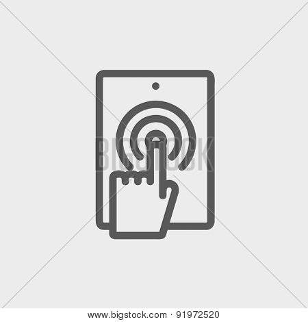 Touch mark in mobile icon thin line for web and mobile, modern minimalistic flat design. Vector dark grey icon on light grey background.