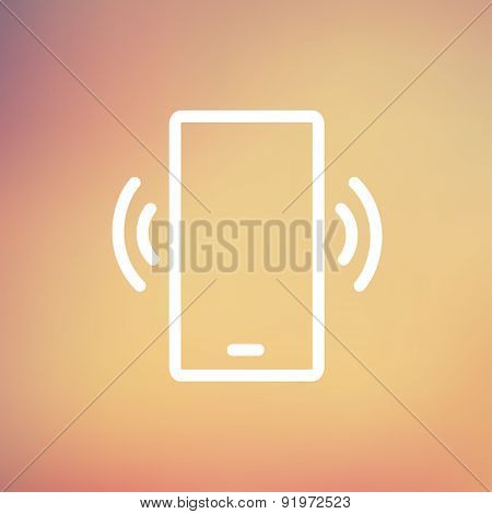Mobile phone vibrating icon thin line for web and mobile, modern minimalistic flat design. Vector white icon on gradient mesh background.