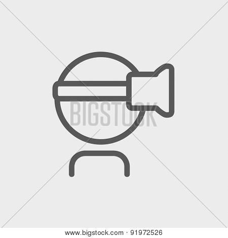 Virtual reality headset icon thin line for web and mobile, modern minimalistic flat design. Vector dark grey icon on light grey background.