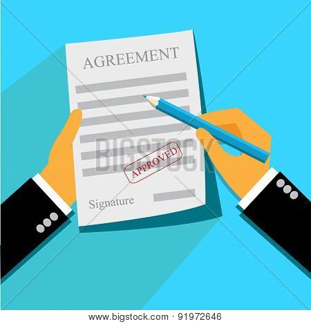 business, deal, agreement, paper, stamp, flat style, Vector web design and infographic