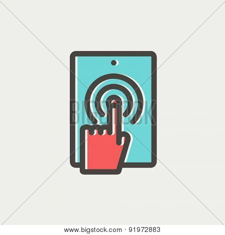 Touch mark in mobile phone icon thin line for web and mobile, modern minimalistic flat design. Vector icon with dark grey outline and offset colour on light grey background.