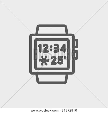 Trendy smartwatch icon thin line for web and mobile, modern minimalistic flat design. Vector dark grey icon on light grey background.