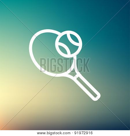 Tennis racket and ball icon thin line for web and mobile, modern minimalistic flat design. Vector white icon on gradient mesh background.