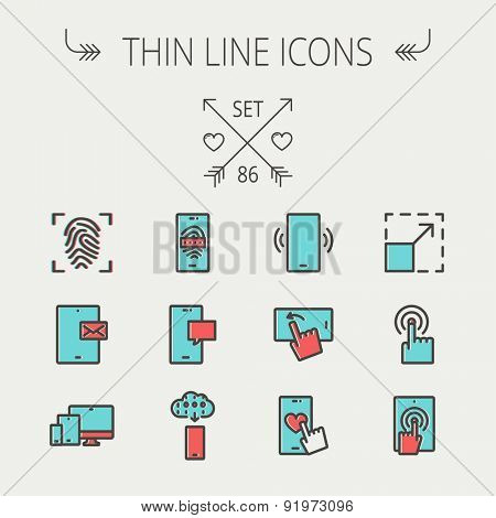 Technology thin line icon set for web and mobile. Set includes - mobiles icons, fingerprint, wireless gadgets icons. Modern minimalistic flat design. Vector icon with dark grey outline and offset