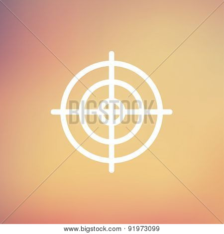 Crosshair target icon thin line for web and mobile, modern minimalistic flat design. Vector white icon on gradient mesh background.