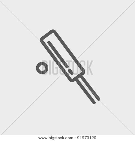 Cricket set game icon thin line for web and mobile, modern minimalistic flat design. Vector dark grey icon on light grey background.