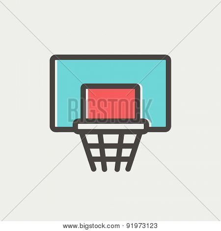 Basketball hoop icon thin line for web and mobile, modern minimalistic flat design. Vector icon with dark grey outline and offset colour on light grey background.