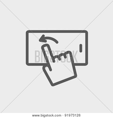 Hand browsing in cellphone icon thin line for web and mobile, modern minimalistic flat design. Vector dark grey icon on light grey background.