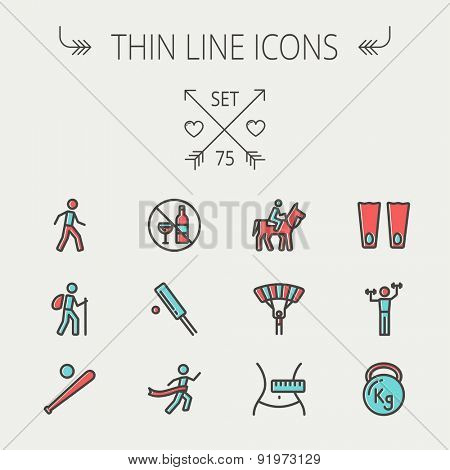 Sports thin line icon set for web and mobile. Set includes -walking exercise, hiking, baseball bat and ball, cricket game, skydiving, flippers icons. Modern minimalistic flat design. Vector icon with