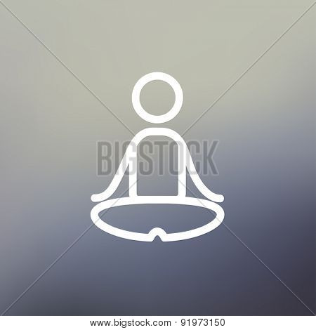 Yoga exercise icon thin line for web and mobile, modern minimalistic flat design. Vector white icon on gradient mesh background.