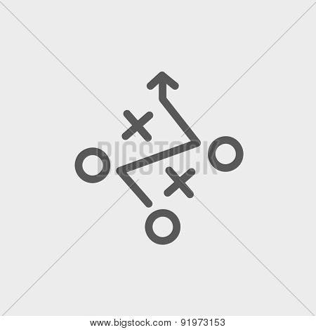 Tic tac toe game icon thin line for web and mobile, modern minimalistic flat design. Vector dark grey icon on light grey background.