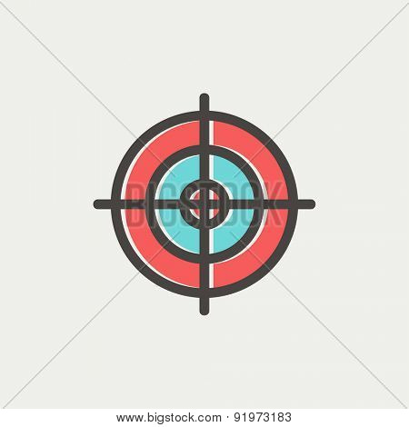 Crosshair target icon thin line for web and mobile, modern minimalistic flat design. Vector icon with dark grey outline and offset colour on light grey background.