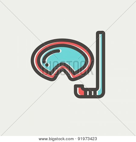 Mask and snorkel for snorkelling icon thin line for web and mobile, modern minimalistic flat design. Vector icon with dark grey outline and offset colour on light grey background.