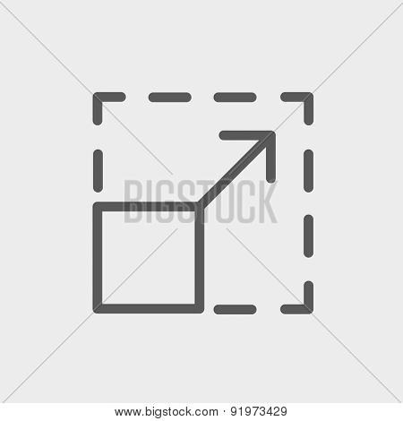 Cellphone code icon thin line for web and mobile, modern minimalistic flat design. Vector dark grey icon on light grey background.