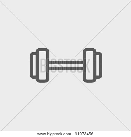 Dumbbell icon thin line for web and mobile, modern minimalistic flat design. Vector dark grey icon on light grey background.