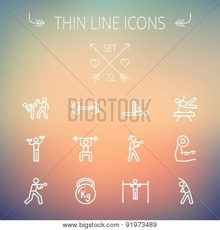 Sports thin line icon set for web and mobile. Set includes-dumbbell, weightlifting, karate, kettlebell, boxing, pull up exercise, gymnast, stretching icons. Modern minimalistic flat design. Vector