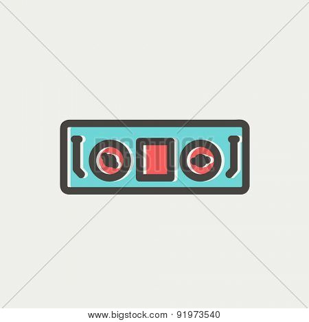 DJ console icon thin line for web and mobile, modern minimalistic flat design. Vector icon with dark grey outline and offset colour on light grey background.