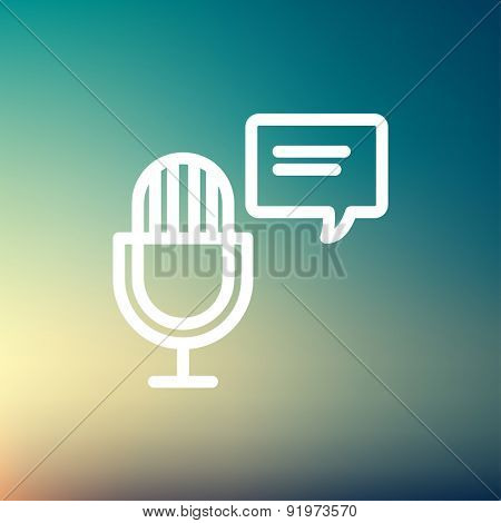 Microphone with speech bubble icon thin line for web and mobile, modern minimalistic flat design. Vector white icon on gradient mesh background.